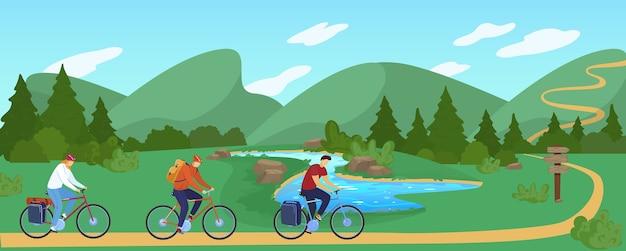 La gente viaggia in bicicletta piatta illustrazione vettoriale. personaggio dei cartoni animati ciclista attivo in viaggio, in bicicletta nel paesaggio montano naturale estivo