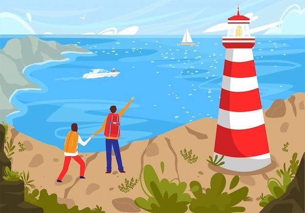 La gente viaggia al paesaggio della spiaggia del mare costiero