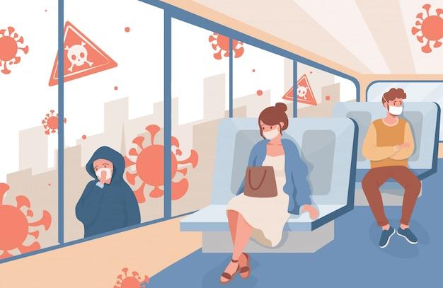 Le persone viaggiano sui mezzi pubblici urbani dopo l'illustrazione piatta dell'epidemia di coronavirus. uomini e donne con mascherine mediche mantengono una distanza sociale sicura. nuove regole per proteggersi dal covid-19.