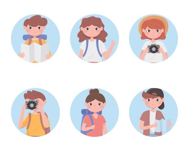 Persone che viaggiano vacanze turistiche con zaini fotocamera, icone rotonde illustrazione