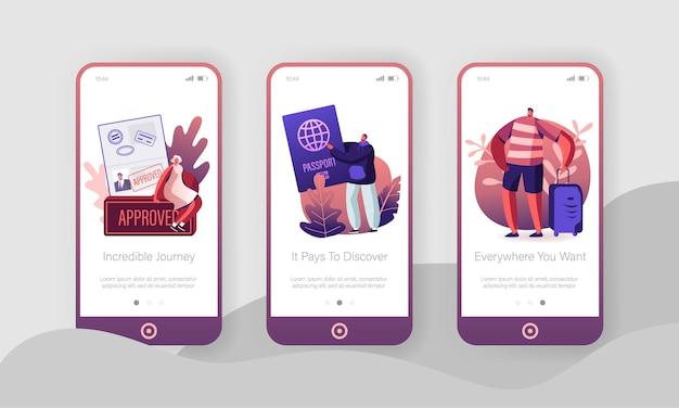 Set di schermate a bordo della pagina dell'app mobile di persone che viaggiano all'estero.