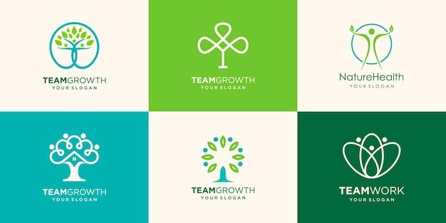 Persone albero, natura umana, logo template logo