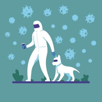 Le persone in uniforme camminano con il cane in uniforme vista laterale per la quarantena dell'epidemia di coronavirus