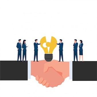 La gente unisce pezzi di lampada sulla metafora della mano della stretta di mano dell'acquisizione. illustrazione piana di concetto di affari.