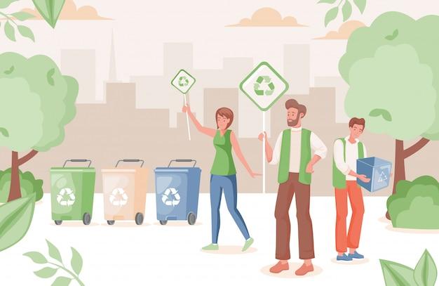 La gente nel parco urbano che ricicla l'illustrazione dei rifiuti. l'uomo e la donna tengono i cartelli con il segno di riciclaggio.