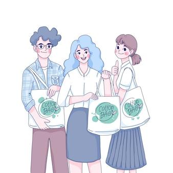 La gente usa l'illustrazione del personaggio dei cartoni animati dei sacchetti di cotone
