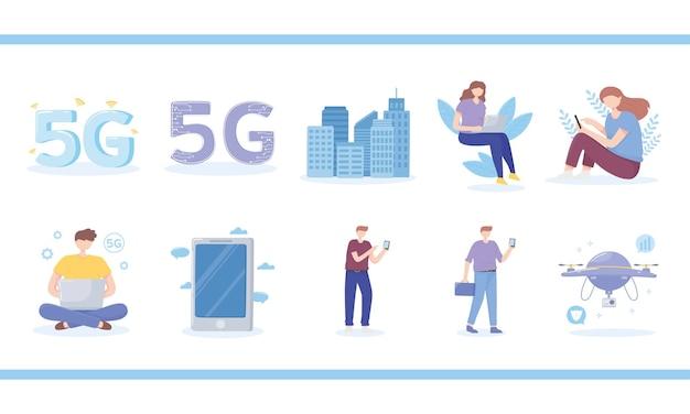 Le persone che utilizzano internet 5g, tecnologie innovative di connessione veloce icone illustrazione