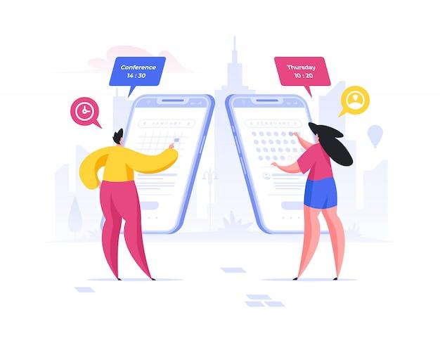 Le persone che utilizzano l'app di calendario sugli smartphone. illustrazione della gente del fumetto piatto