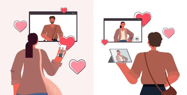 Persone che utilizzano gadget digitali in chat in app di incontri online web browser windows concetto di relazione sociale orizzontale ritratto illustrazione