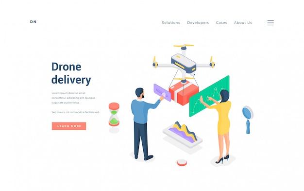 Persone che utilizzano il servizio di consegna droni. illustrazione