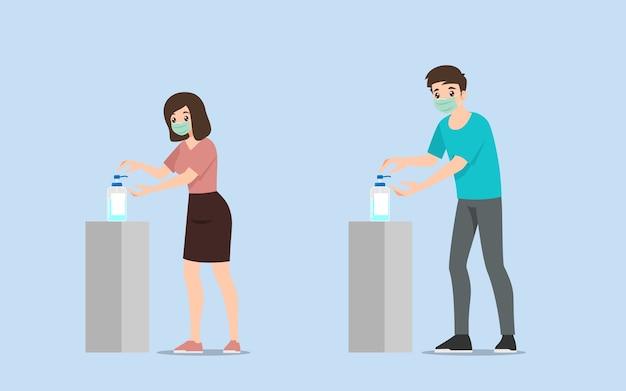 Le persone che usano l'erogatore della pompa del gel disinfettante per le mani per pulirsi le mani.