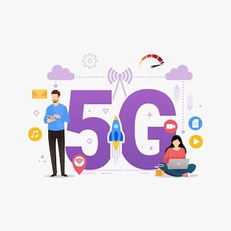 Persone che utilizzano una connessione wireless ad alta velocità tramite smartphone mobile