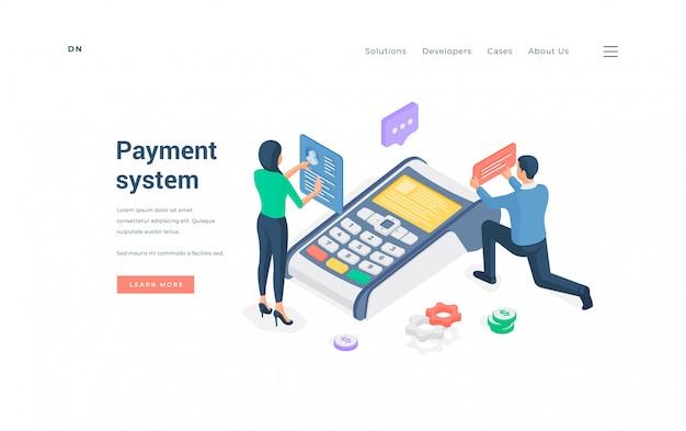 La gente che utilizza l'illustrazione isometrica del sistema di pagamento moderno.
