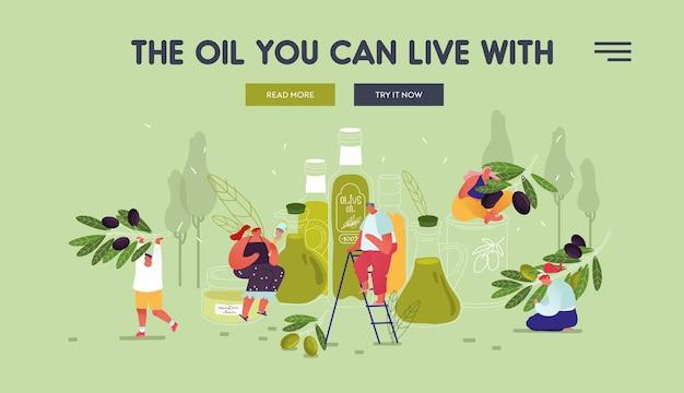Persone che utilizzano olio d'oliva per cure di bellezza e scopi di cucina pagina di destinazione del sito web.