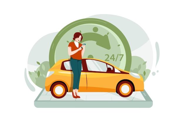 Le persone che utilizzano il concetto di applicazione mobile di condivisione di auto in taxi di ordinazione online