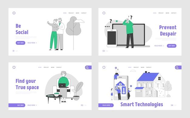 Persone che utilizzano dispositivi intelligenti e tecnologie set di pagine di destinazione del sito web