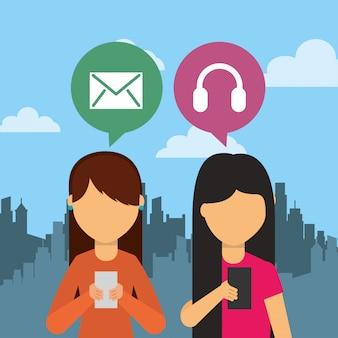 Persone che utilizzano il dispositivo smartphone con fumetti e sfondo della città
