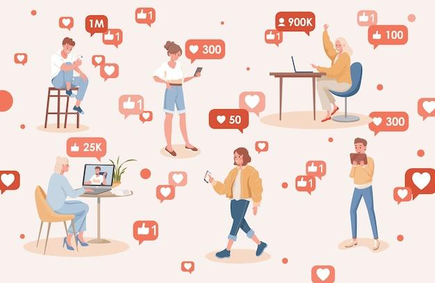 Persone che utilizzano l'illustrazione piatta dei social media. uomini e donne sorridenti e felici guadagnano abbonati e mi piace su internet.