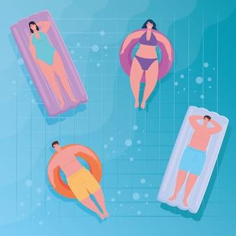 Le persone che usano il costume da bagno, le persone che galleggiano, rilassarsi prendendo il sole sul gonfiabile, in piscina, stagione delle vacanze estive