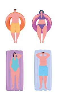 Le persone che usano il costume da bagno, le persone che galleggiano, si rilassano prendendo il sole sul gonfiabile, le vacanze estive