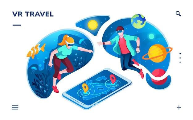 Persone che utilizzano la realtà virtuale per viaggiare nell'universo o nell'oceano. simulazione vr di sott'acqua, esplorazione dello spazio, realtà aumentata per la navigazione su smartphone. interfaccia dell'applicazione per il servizio visivo
