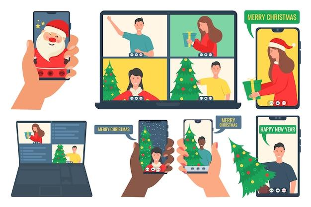 Persone che chiamano video e condividono regali online