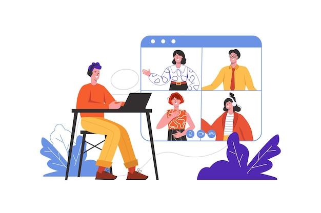 Video chat di persone online. uomini e donne che parlano alla scena dello schermo isolata. amicizia remota, comunicazione internet, concetto di videoconferenza aziendale. illustrazione vettoriale in design piatto minimal
