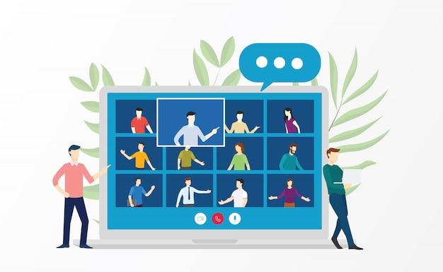 Discussione di incontro virtuale di videoconferenza di persone sulla formazione aziendale corsi di formazione online in stile cartone animato piatto