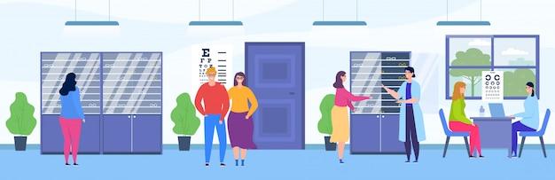 La gente visita il negozio di oftalmologia, personaggio dei visitatori felice dei cartoni animati che sceglie gli occhiali nell'interno della stanza del negozio ottico
