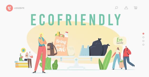 Le persone visitano il negozio con borse ecologiche riutilizzabili e modello di pagina di destinazione dell'imballaggio. i personaggi usano imballaggi ecologici per fare acquisti in negozio. tutela dell'ambiente, acquisto. fumetto illustrazione vettoriale