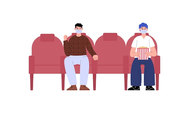 Persone che visitano il cinema durante l'illustrazione piana di vettore della pandemia virale isolata