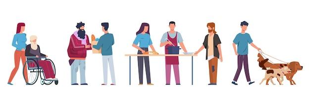 Le persone fanno volontariato. volontariato e sostegno alle persone, gli assistenti sociali aiutano gli anziani e i malati a camminare, la cucina del cibo guida l'insieme isolato del fumetto di vettore della sedia a rotelle