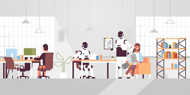 Persone vs robot che lavorano in co-working creativo colleghi di lavoro open space businesspersons seduti sul posto di lavoro intelligenza artificiale interno ufficio moderno