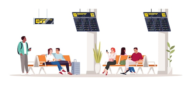 La gente aspetta l'illustrazione di vettore di colore rgb semi piatto di volo. la donna si siede sulla sedia nella hall. uomo nel terminal dell'aeroporto. i passeggeri dell'aeroplano hanno isolato il personaggio dei cartoni animati su fondo bianco