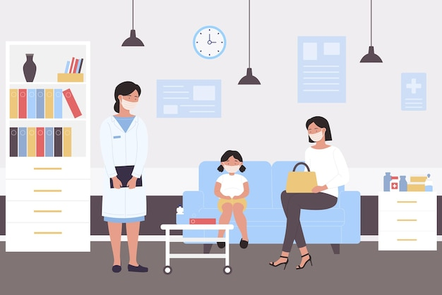 La gente aspetta il controllo medico pediatrico