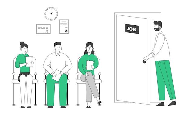 Persone in attesa di colloquio di lavoro seduti nella hall dell'ufficio sulle sedie