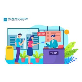 Persone in fila alla biglietteria o al banco di registrazione, illustrazione piatta.