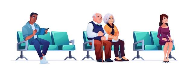 Persone in attesa in coda nei sedili dell'ospedale