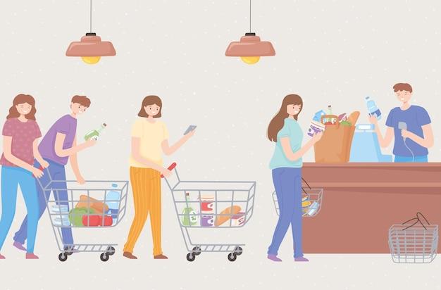 Persone in attesa in coda al supermercato