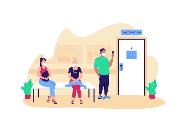 Persone in attesa di illustrazione piatto concetto di vaccinazione Vettore Premium