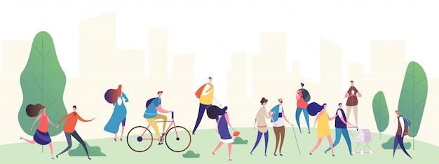La gente cammina nell'illustrazione del parco della città