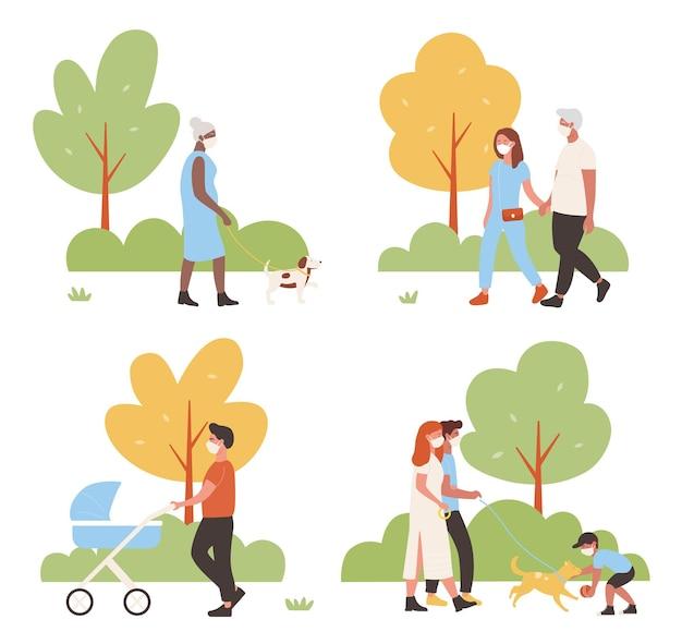 La gente cammina nel set di illustrazione vettoriale parco cittadino. personaggi della famiglia attivi dei cartoni animati che camminano insieme