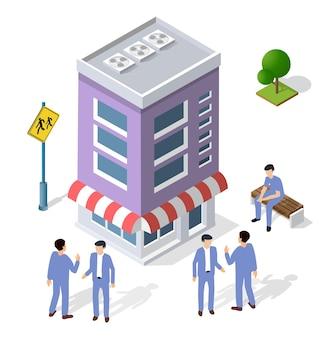 La gente che cammina intorno alla proiezione isometrica dell'uomo d'affari dell'uomo d'affari della città