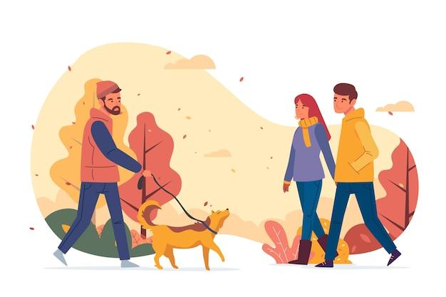 La gente che cammina nell'illustrazione di autunno