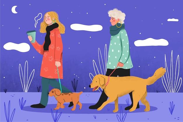 La gente che cammina il concetto di cane
