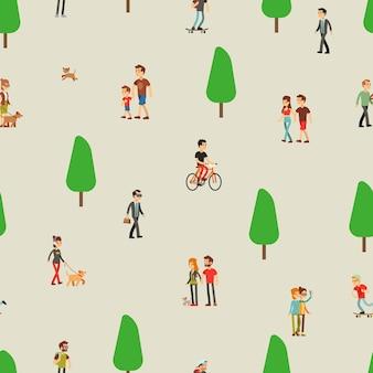 Persone che camminano. donna dell'uomo sul modello senza cuciture di attività all'aperto di natura, coppia e famiglia. lo skateboard, il bambino gioca con l'illustrazione vettoriale del cane. parco estivo all'aperto per famiglie