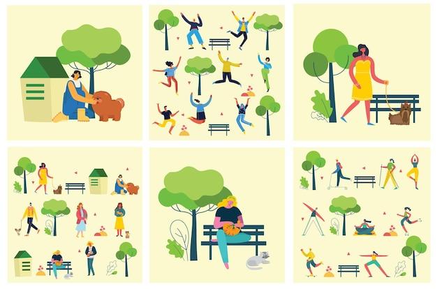 Persone che camminano all'aperto nel parco