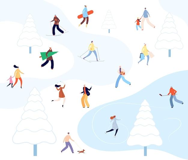 Persone che camminano nel parco invernale. attività di coppia di cartoni animati, persona che scia sulla natura. passeggiata sulla neve, pattinaggio familiare urbano su illustrazione vettoriale di ghiaccio. stagione della neve inverno, sci e pattinaggio, snowboarder nel parco