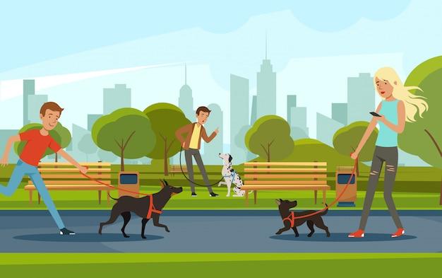 Persone che camminano con i cani nel parco urbano. vector paesaggio in stile cartone animato