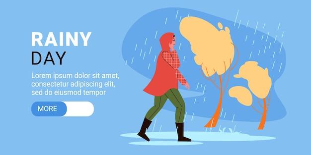Persone che camminano con banner orizzontale ombrello